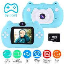 VATENIC Best Kids Camera Birthday Gift for Boys Age 3-10,1080IPS Chirldren Digital Video Camera for Girls and Boys,Toys for3 4 5 6 7 8 9 10 Year Old Boys Toys with 16GB SD Card, Blue
