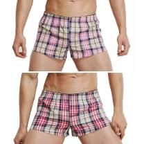 sandbank Men's 2 Pack Boxers Shorts Cotton Soft Lounge Sleep Bottoms Underwear
