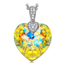 NINASUN Heart Pendant Necklace With 925 Sterling Silver Chain&Crystal from Swarovski Hypoallergenic Crystal Necklace for Women Girls with Gift Box