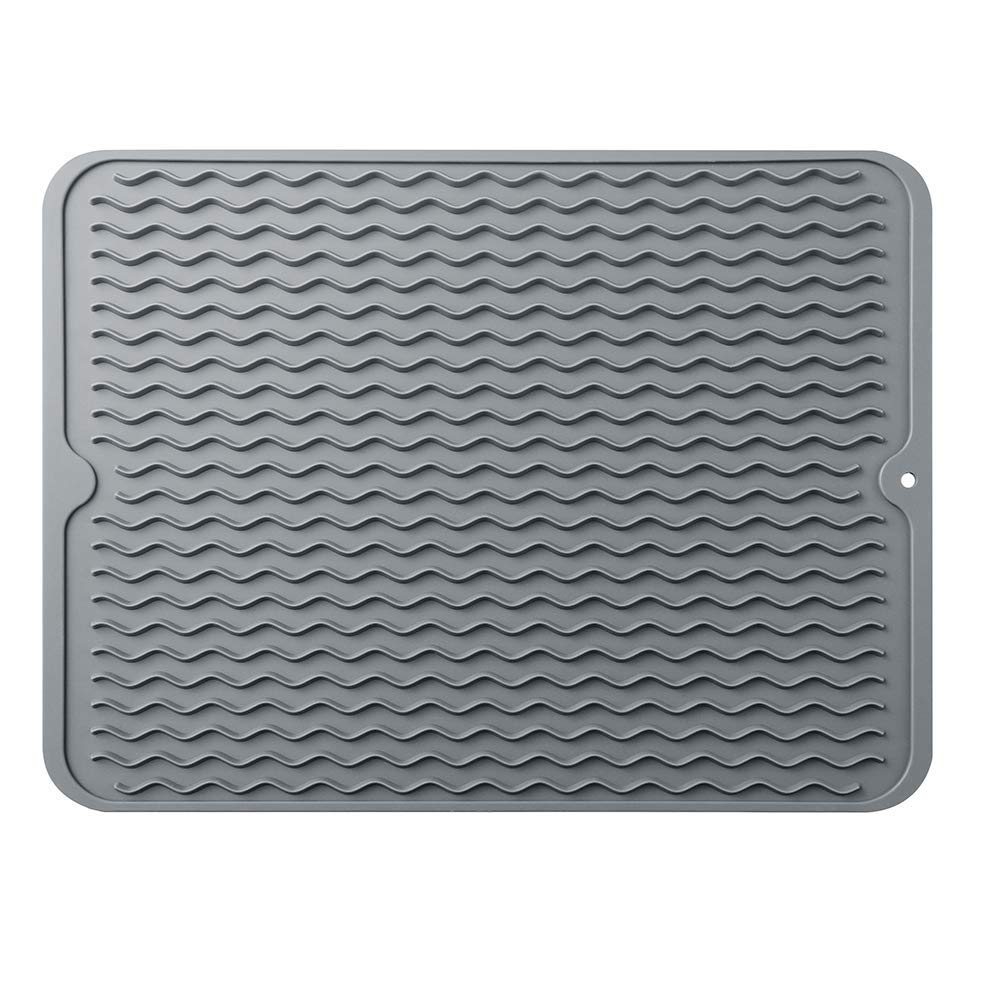 Silicone Dish Drying Mat, Eco Friendly Heat Resistant Kitchen Dish Draining Mat (Large 16'' x 12'', Grey)