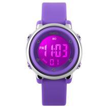 BesWLZ Kids Outdoor Sport LED Digital Electrical Luminescent Waterproof Alarm Children Dress Wrist Watch with LED Alarm Stopwatch for Boys Girls (Purple)