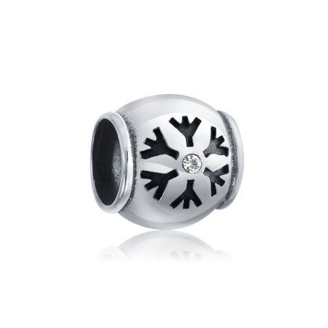 Blue Snowflake Charm 925 Sterling Sliver Spacer Bead Fits European Charm Bracelet