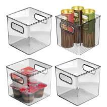 "mDesign Plastic Kitchen Pantry Cabinet, Refrigerator or Freezer Food Storage Bin with Handles - Organizer for Fruit, Yogurt, Snacks, Pasta - Food Safe, BPA Free, 6"" Cube - 4 Pack, Smoke Gray"