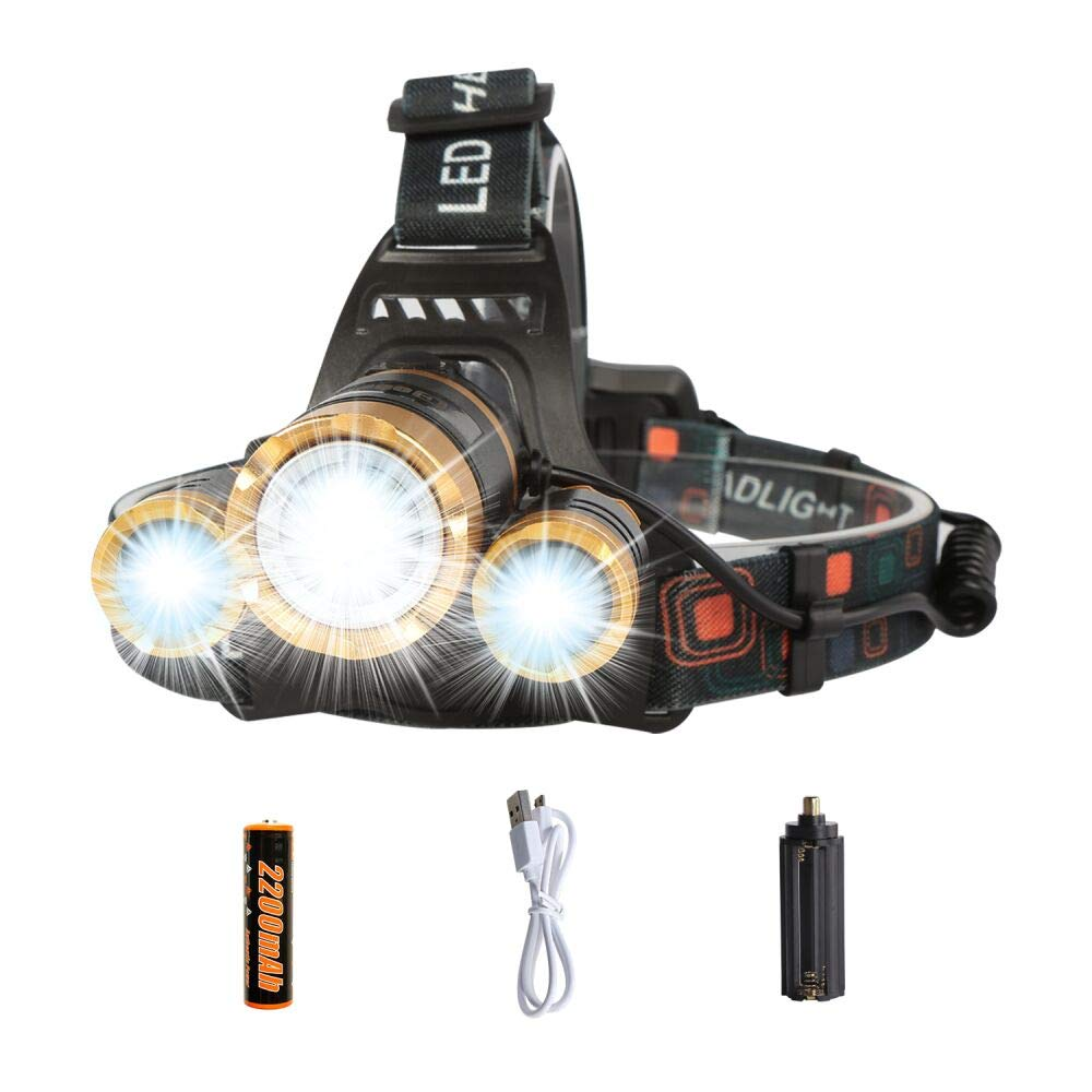 LED Headlamp Flashlight,COSOOS Rechargeable Headlamp with Red Safety Light, 2500 Lumen Xtreme Bright,Zoomable 4-Mode Waterproof Head Lamp for Adults,Hardhat,Support AAA Battery,Li-ion Battery Included