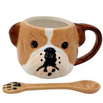 3D Hand Painted Dog Coffee Tea Ceramic Mug Cute Pet Perfect Dog Lover (English Bull Dog Small)
