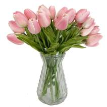 """OOTORI 20 pcs PU Real-Touch Artificial Tulip Flowers 13.4"""" for Bouquet Room Centerpiece Flowers Arrangement Home Wedding Party Decor (Pink)"""