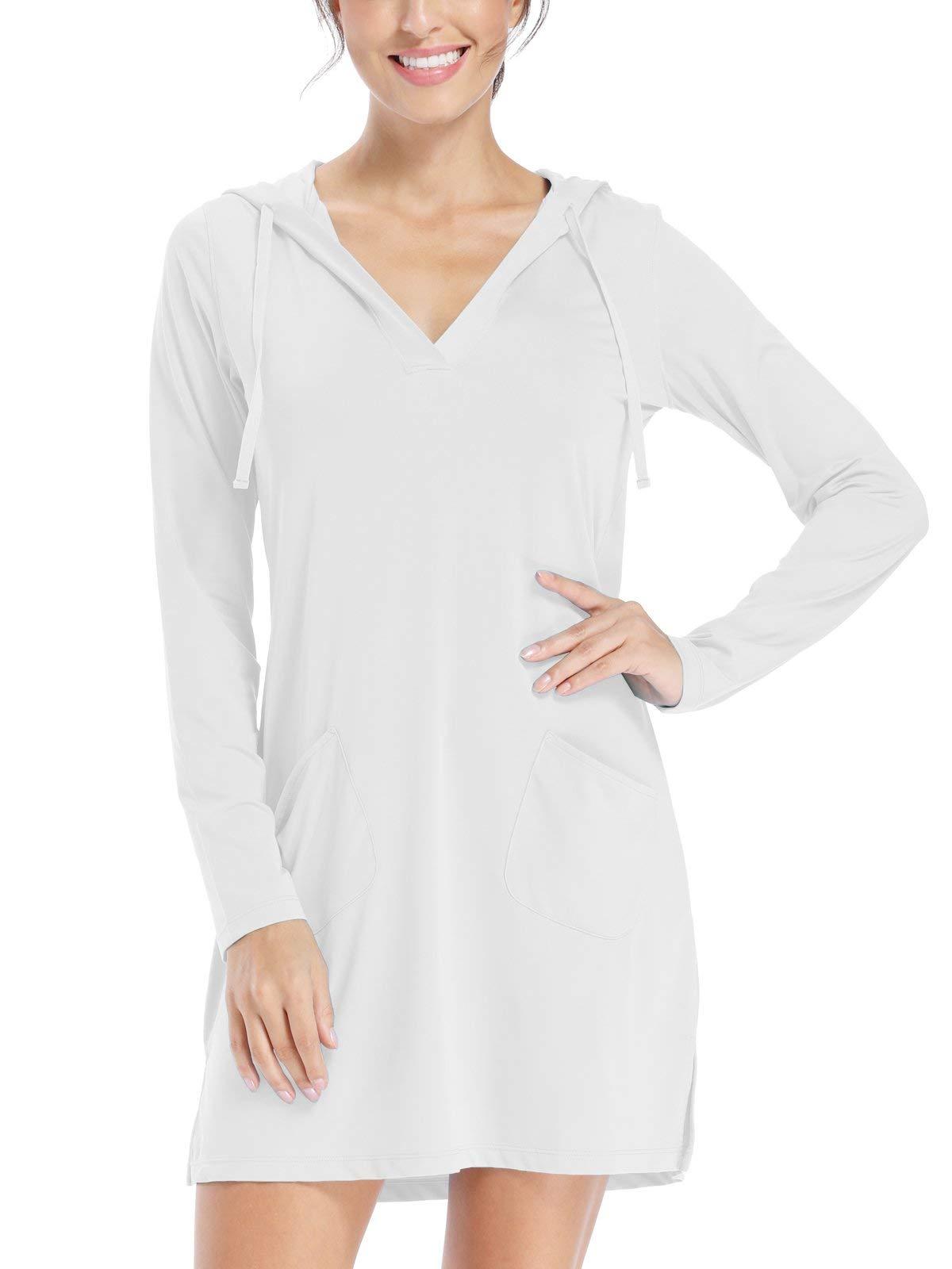 Willit Women's UPF 50+ Cover-Up Dress Beach SPF Long Sleeve Shirt Dress Sun Protection Hiking Beach