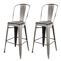 GIA High Back Armless Bar Chair with Metal Seat, Antique White, 2-Pack