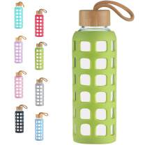 Cleesmil BPA Free Glass Water Bottle with Anti-Slip Silicone Sleeve with Bamboo Lid Leak Proof 12 oz (Grass Green)