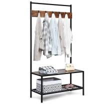 Tangkula 3 in 1 Industrial Coat Rack, Hall Tree Shoes Bench, Entryway Storage Organizer with 2-Tier Storage Bench and 5 Hooks, Wood Look Accent Furniture with Metal Frame(Coffee)