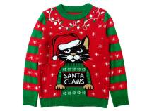 Santa Claws Cat Ugly Christmas Sweater Funny Men Women Festive Holiday Sweater