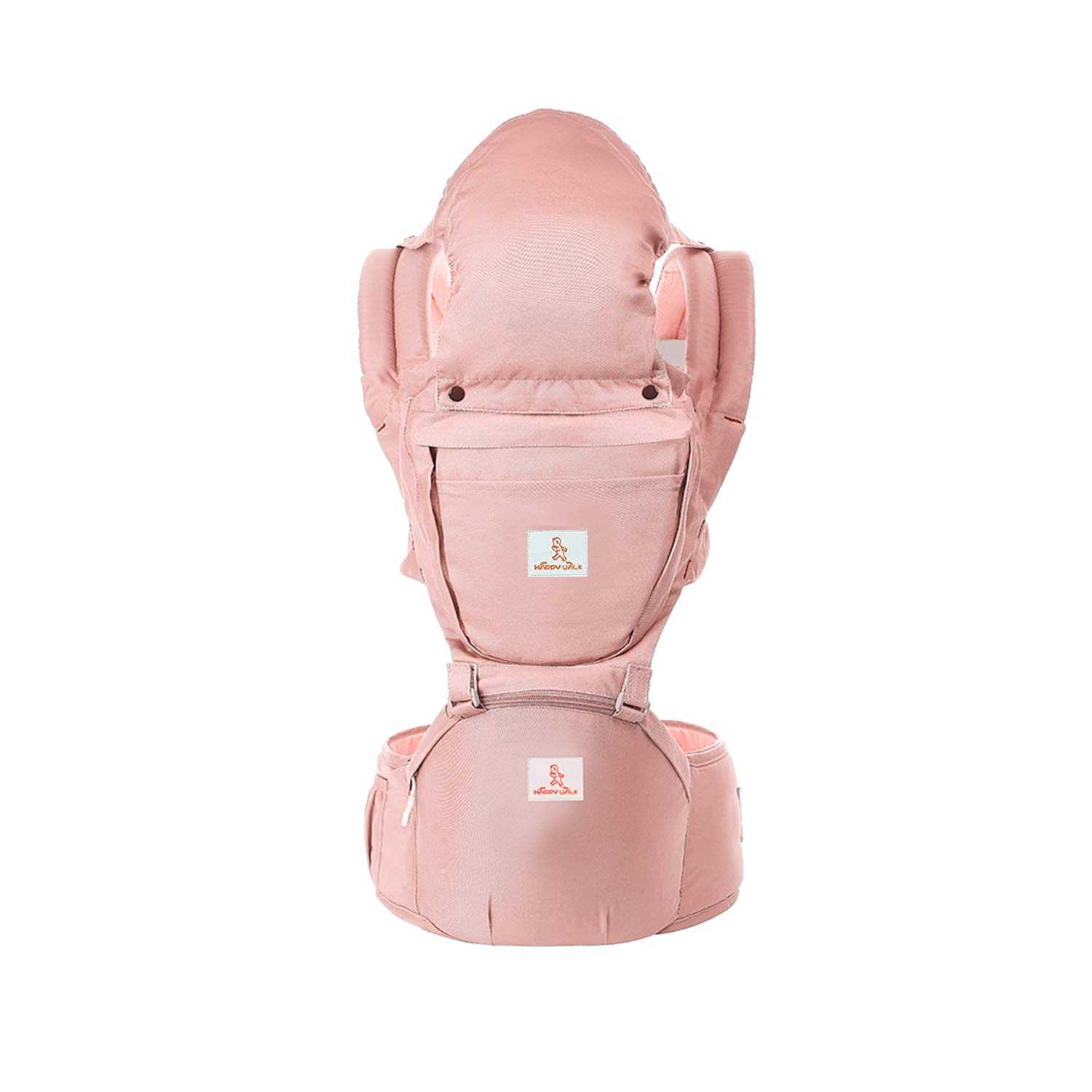 Baby Carrier with Hip Seat 360 Ergonomic 6-in-1 Convertible Hipseat Baby Waist Stool Carrier for All Seasons, Toddler Tush Stool, Baby Wrap Carrier Front and Back (Pink)
