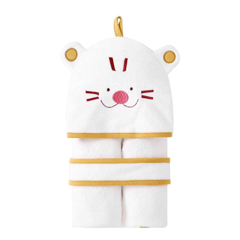 pureborn Baby Girl Swaddle Blanket Bath Towel Newborn Soft Terry Cotton Cute Cartoon Yellow Tiger