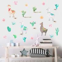 IARTTOP Watercolor Llama Wall Decal, Funny Alpaca Sticker for Kids Bedroom Decoration, Tropical Cactus Flower Window Cling Decor and Nursery Room Decor (29 pcs Multicolor Decals)