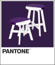 "Pantone Contemporary Short and Tall Round Stools Set of Two, 18.5"" and 13"" Height, Sturdy Wooden Footstool Side Table, Flexible Seating for Home, Bedroom, or Playroom, 269 Violet"