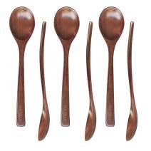 Wooden Spoons for Eating 7-inch Soup Spoons Wooden Tablespoon for Adults and Kids 6Pc