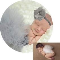 Newborn Photography Outfits for Baby Girl Clothes Fluffy Gray Tutus Skirt Newborn Headbands + Infant Feather Angel Wings, Baby Girls Cupid Costume Gifts for Baby Shower Photo Shoots Props