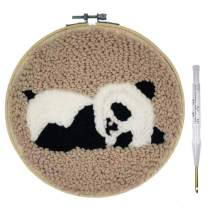 Wool Queen Punch Needle Starter Kit | Animal Rug Hooking Beginner Kit, with an Adjustable Embroidery Pen and 8.0'' Bamboo Hoop-Panda