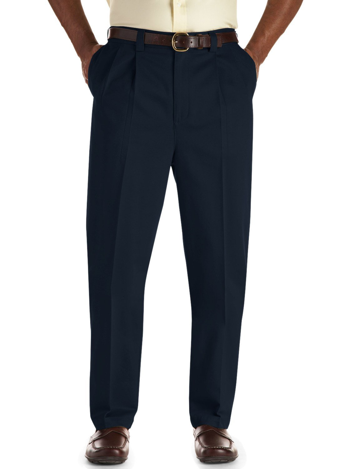 Oak Hill by DXL Big and Tall Pleated Premium Stretch Twill Pants, Navy, 48R 28