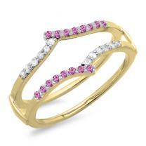 Dazzlingrock Collection 14K Round Pink Sapphire & White Diamond Ladies Anniversary Wedding Band Guard Double Ring, White Gold