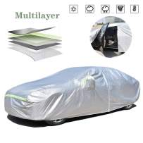AOYMEI Full Car Cover Waterproof All Weather, Automobile Cover Sunproof Rainproof Windproof Scratch Resistant Reflective Strips Cotton Inside (Sedan, fit Length (166''-179'')