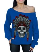 Awkward Styles Indian Day of Dead Skull Off The Shoulder Oversized Slouchy Sweatshirt