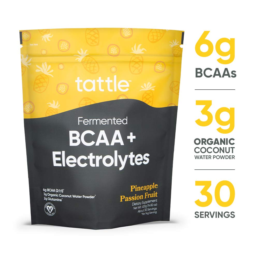 Tattle Fermented BCAA + Electrolytes Pineapple Passion Fruit, 30 Servings, Muscle Endurance & Hydration Mix, Plant Based BCAA + Natural Electrolytes- Naturally Flavored & Sweetened, Vegan Certified