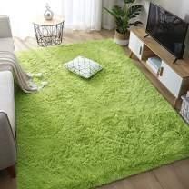Rainlin Faux Fur Shag 6x9 Area Rugs for Living Room, Anti-Skid Modern Plush Soft Carpet Extra Comfy Fluffy Nursery Rug for Bedroom Home Decor, Green