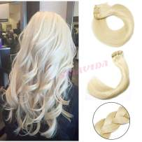 Plaitnum Blonde Clip in Remy Hair Extensions Double Weft Clip in Real Extensions Thick Straight Human Hair Extesnions Clip on 7 Pcs 120G/Set 16 Inch for Fashions Women