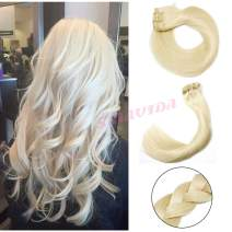 Remy Clip in Hair Extensions Plaitnum Blonde Double Weft Clip in Extensions Thick Straight Real Human Hair Extesnions Clip on 7 Pcs 120G/ Set 16 Inch for Full Head for Fashion Women