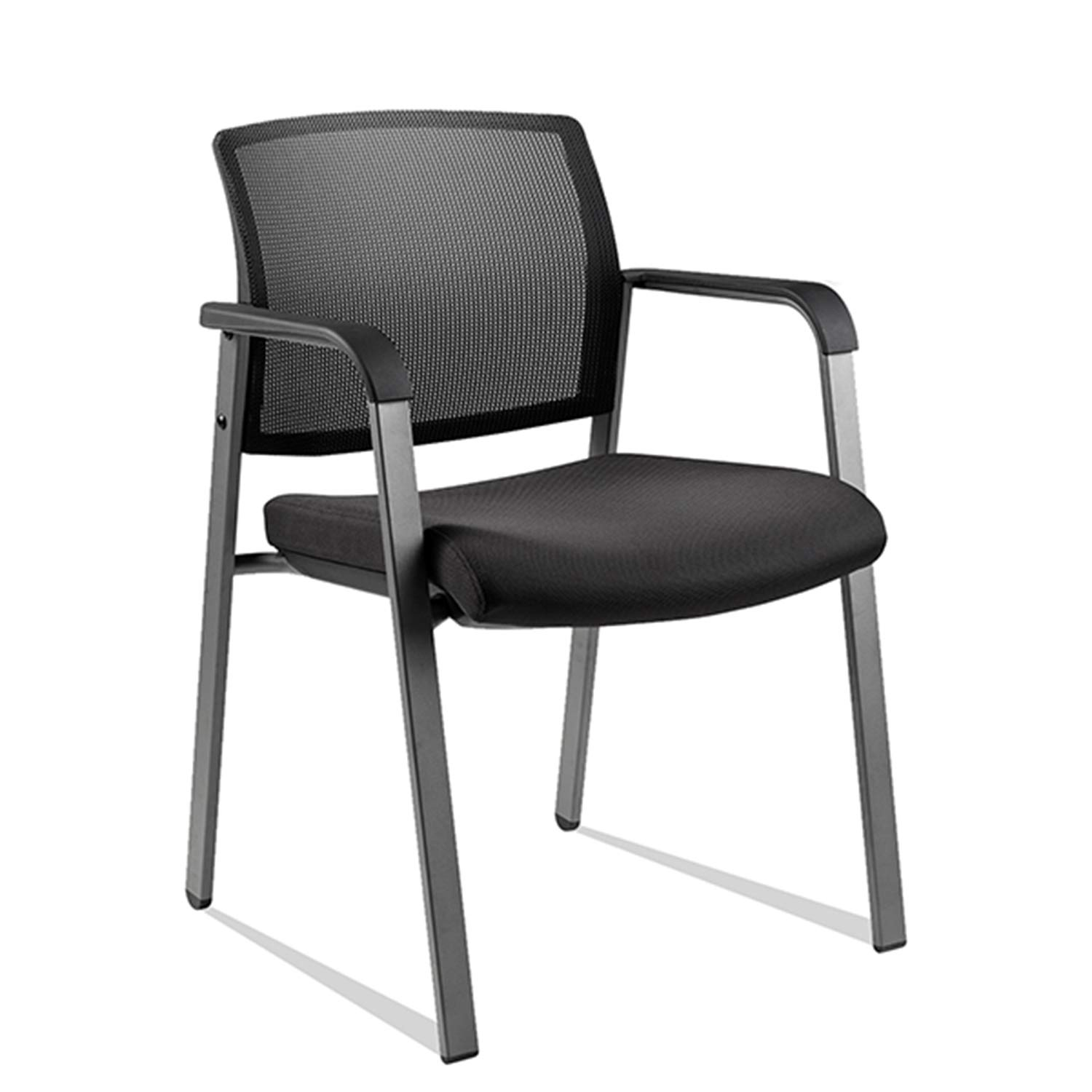 CLATINA Mesh Back Stacking Arm Chairs with Upholstered Fabric Seat and Ergonomic Lumber Support for Office School Church Guest Reception BIFMA Certified Black