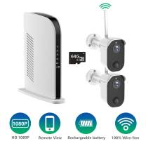Battery Security Camera System, Wirefree Security Battery Operated 1080P Rechargable Camera for Home Business, WiFi Indoor Outdoor with Night Vision, Motion Detection, 2 Cameras