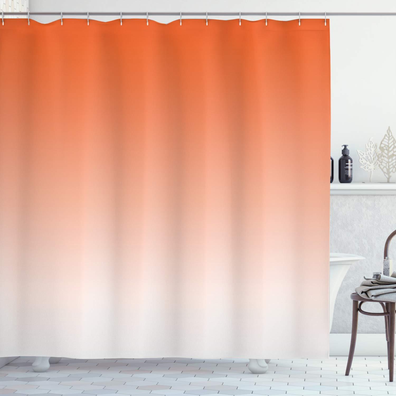 "Ambesonne Ombre Shower Curtain, Scorching Sunset in The Hot Desert Inspired Dusk Orange Ombre Digital Art Design Print, Cloth Fabric Bathroom Decor Set with Hooks, 70"" Long, Orange"