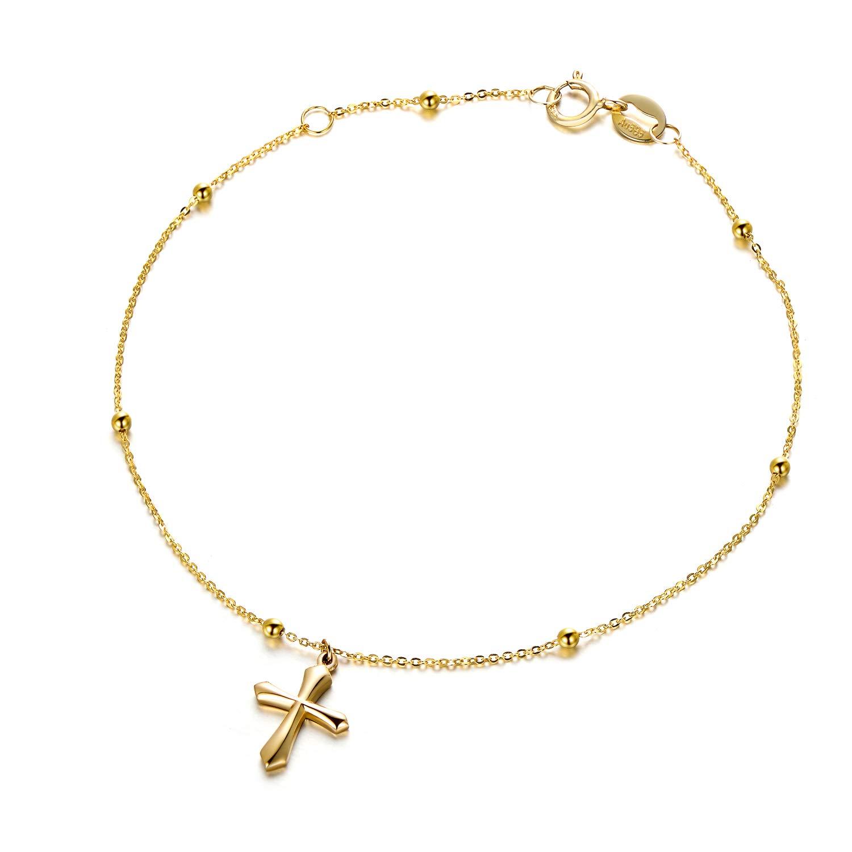 """14K 18K Gold Tiny Cross Bracelet for Women, Real Gold Thin Chain Bracelet 6.3""""+0.78"""""""