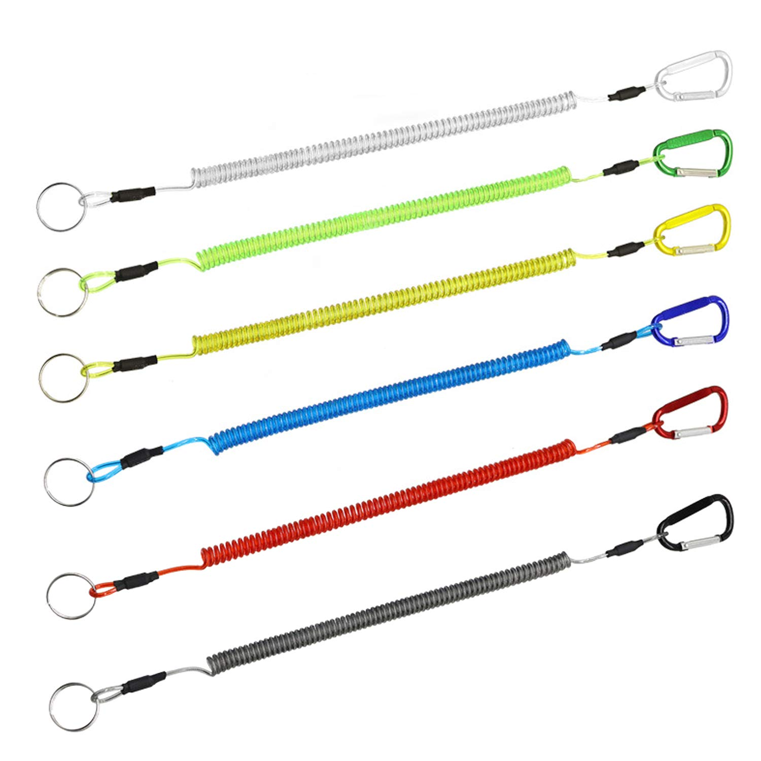 Hunter's Tail Fishing Lanyard, (6 Pcs) Fishing License Lanyard Fishing Lanyards Boating Ropes Safety Retractable Wire Steel Coiled Tether with Carabiner Fish Tools Multi-Colored