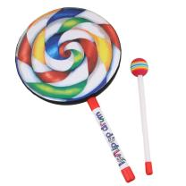 """Yibuy 7.9"""" Lollipop Shape Drum with Rainbow Color Mallet Music Rhythm Instruments Playing Toy"""