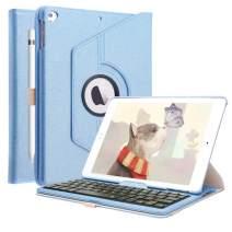 Keyboard Case Compatible iPad 6th Gen 2018 /iPad 5th Gen 2017/ iPad Pro 9.7 2016 / iPad Air 2/ iPad Air, Bluetooth Keyboard KVAGO-360 Rotating Bluetooth Keyboard Cover (Blue)
