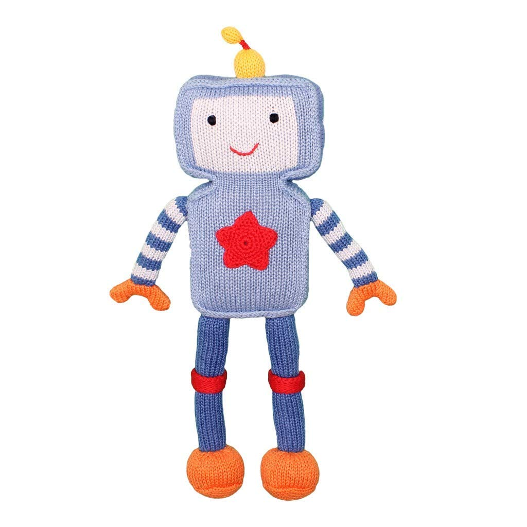 Zubels Baby Riley The Robot Hand-Knit Plush Doll Toy, All-Natural Fibers, Eco-Friendly, 100% Cotton, 14-Inch