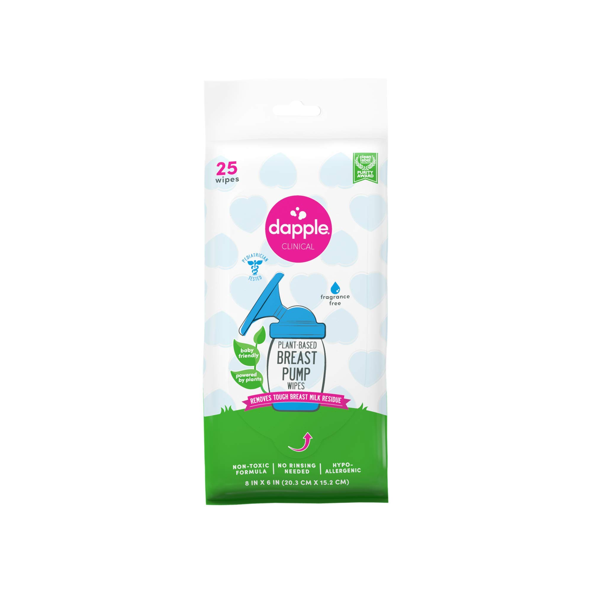 Dapple Breast Pump Cleaner Wipes, Plant-Based, Fragrance Free, 25 Count, Hypoallergenic, Breast Pump Cleaning Wipes, Great for Cleaning Breast Pump Parts