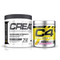 Cellucor Pre Workout & Creatine Bundle,  C4 Original Pre Workout Powder, Pink Lemonade, 30 Servings +  Cor Performance Creatine Powder, 72 Servings