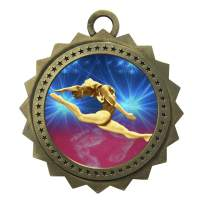 10 PK of Female Gymnastics Gold Medals Trophy Award with Neck Ribbons D03-D22