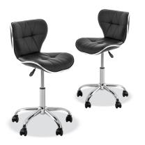 YK-9301 Stool with Adjustable Foot Rest Rolling Chair (Set of 2)