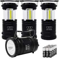 Gold Armour 4 Pack Portable LED Camping Lantern Flashlight with Magnetic Base - EMITS 500 LUMENS - Survival Kit for Emergency, Hurricane, Power Outage with 12 AA Batteries