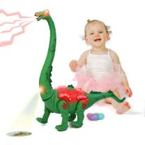 M.best Walking Dinosaur Toy, LED Light Up Walking Realistic Dinosaur with Sound, Automatic Laying Eggs, Projection Lights, Gift Ideas for Kids Boys Girls (Green)