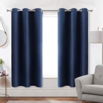 Diraysid Navy Blue Grommet Blackout Curtains for Bedroom Thermal Insulated Room Darkening Curtains Drapes, W42 x L63, 2 Panels