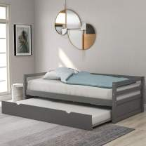 Wood Daybed with a Trundle No Box Spring Required Twin Trundle Daybed (Grey Trundle Daybed)