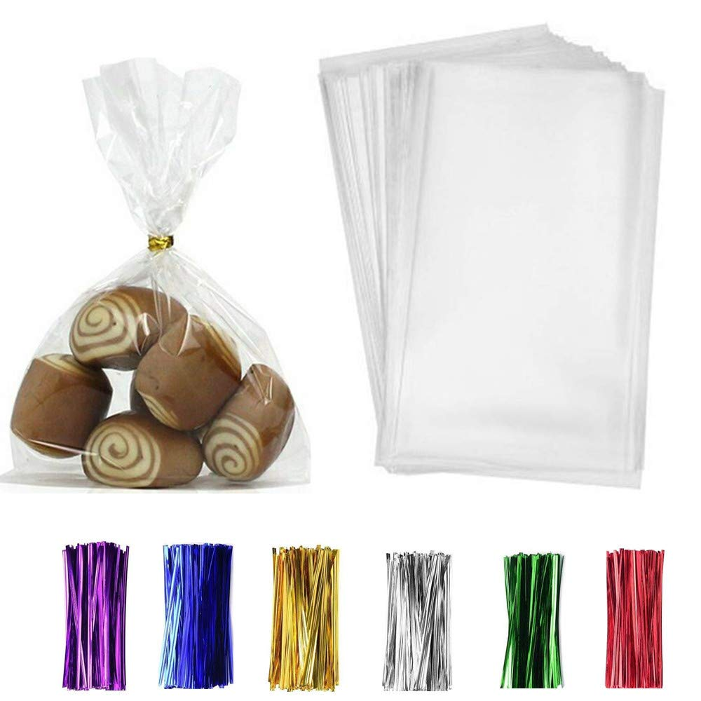 """200 Pack Clear Treat Bags 6''×9'' Clear Bakery Bags with 4"""" Twist Ties 6 Mix Colors - Clear Candy Bags Thickness OPP Plastic Bags for Wedding Cookie Birthday Cake Cookies Supplies(6''×9'')"""