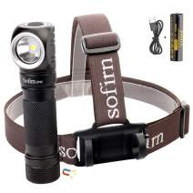 Sofirn SP40 Rechargeable Headlamp 1200 Lumen, Powerful XPL 5500K LED Flashlight with 18650 battery (Inserted), Right Angle Headlight for Repairing Running Camping Hiking