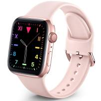 Sport Band Compatible with Apple Watch iWatch Bands 38mm 40mm for Women Men,Soft Silicone Strap Wristbands for Apple Watch Series 3 Series 6 Series 5 Series 4 Series 2 Series 1 Series SE,Pink Sand