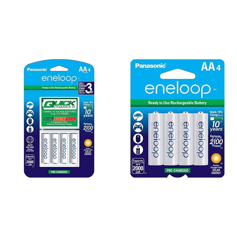 Panasonic Advanced eneloop Individual Battery 3 Hour Quick Charger with 4 AA eneloop Rechargeable Batteries, White & BK-3MCCA4BA eneloop AA 2100 Cycle Ni-MH Pre-Charged Rechargeable Batteries, 4 Pack